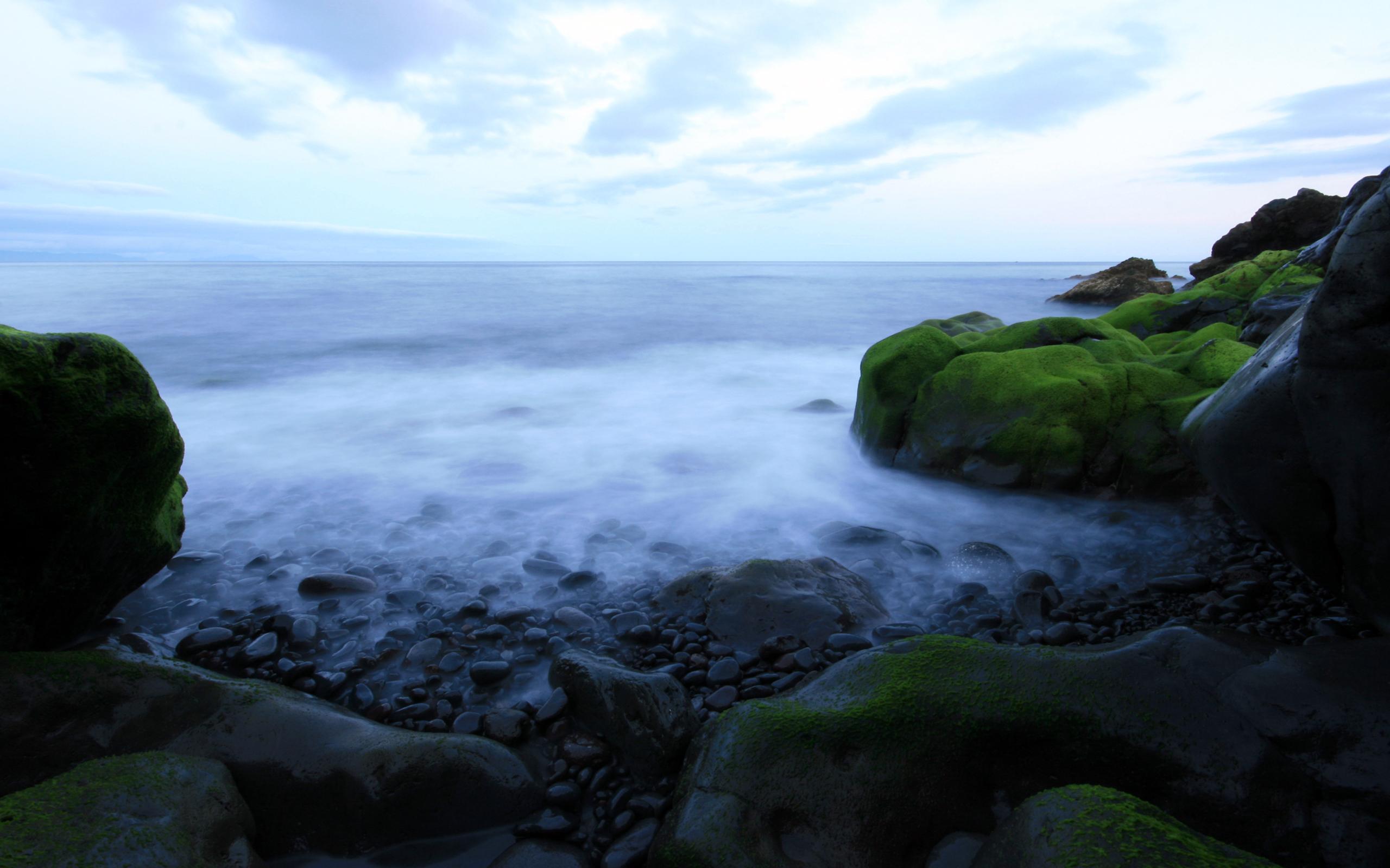 Foto Oceano, Rocas con Musgo