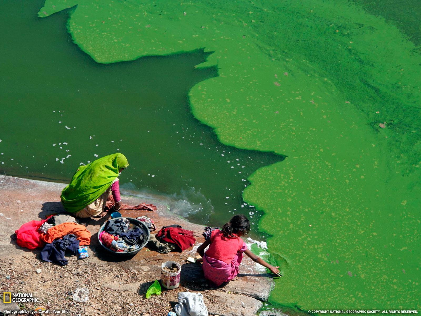 Lavando en el Lago