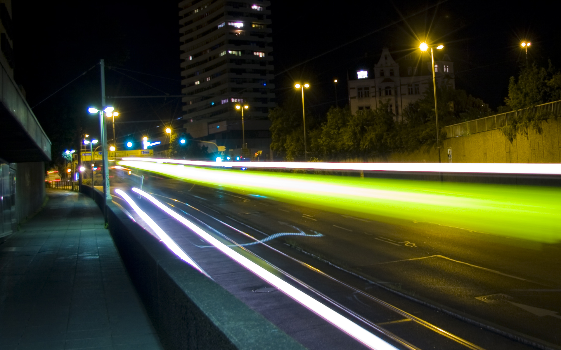 Luces Neon Coches Ciudad